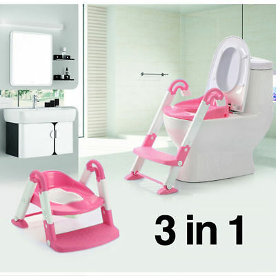 Kids Child Toilet Toddler Potty Trianer Seat Step Ladder 3 IN 1 Foldable Chair