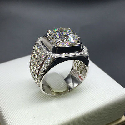18K White Gold ICED OUT Simulated Lab Diamond Band MICROPAVE Mens Ring