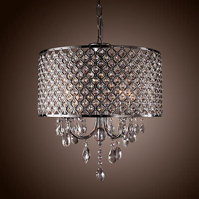 Modern Drum Shape 4 Light Crystal LED Ceiling Light Chandelier Pendant Lamp MA