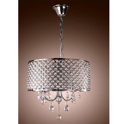 Crystal Chandelier Ceiling Light Pendant Fixture Drum Lamp Shade 4 lights MA