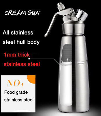 1 Liter Stainless Steel Commercial Silver Whipped Cream Foaming Bakeware Tools