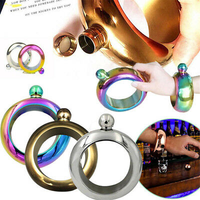 3.5oz Stainless Steel Portable Hip Flask Holder Alcohol Drink Bangle Bracelet