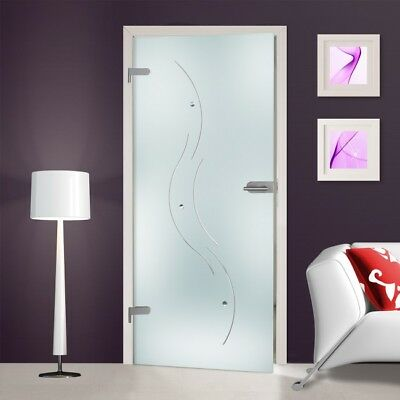 Modern Interior Swing Glass Door with Hardware & Frosted Design + Muggle Stones