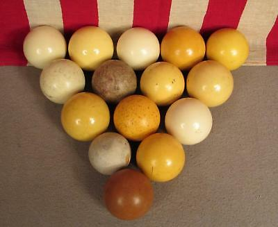 Vintage Group Pool Billiards Table Cue Balls Lot of 15 Cues Several Antique Nice