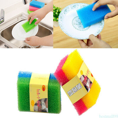 2pcs Kitchen reusable Wash Washing Tool Silicone Sponge Scrubber Brush Clean RB