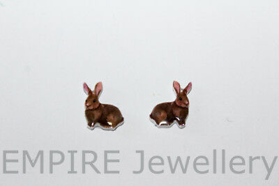 NEW!! 2 x Vintage Bunny Rabbit 12x10mm Flat Photo RESIN Cabochon Cameo