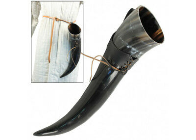 XL Drinking Horn with Black Leather Belt Frog