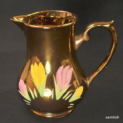 """Wade 5 3/4"""" Copper Lustre Pitcher 1950's Hand Painted Purple Yellow Green Tulips"""