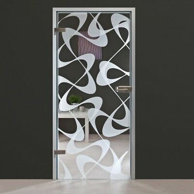 Modern Interior Swing Full Glass Door with Hardware & Frosted + Retro Design