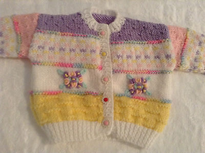 Hand Knitted Embroidered Baby Girl Cardigan - Birth to 3mths