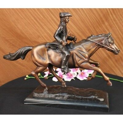 Sculpture Statue Signed Pj Mene French Soldier On Horse Marble Figure Bronze Co
