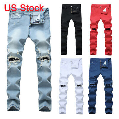 Men's Denim Ripped Distressed Jeans Washed Stretchy Tapered Leg Pants with Holes