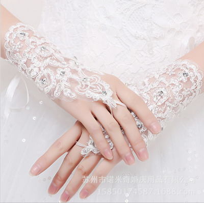The bride wedding Beaded beaded lace hook finger gloves new short Wedding Gloves