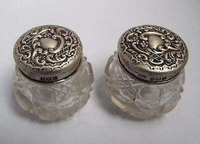 Nice Matching Pair English Antique 1910 Solid Sterling Silver & Glass Cream Jars