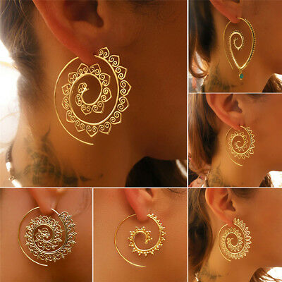 Vintage Boho Gold Plated Circle Round Spiral Brass Tribal Hoop Earrings Jewelry