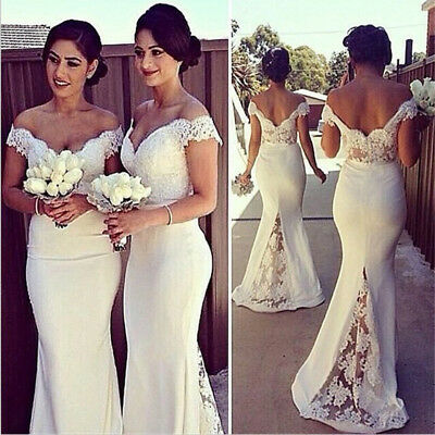 UK Womens White Lace Formal Prom Gown Party Cocktail Bridesmaid Wedding Dress