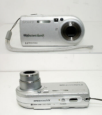 Sony Cyber-shot DSC-P100 5.1MP Digital Camera - Silver, Tested, Works - Nice!