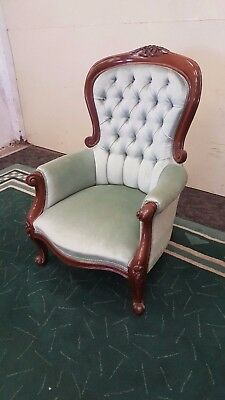 Victorian Gentleman's Chair Button Back Timber Framed Chair Blue Soft Fabric