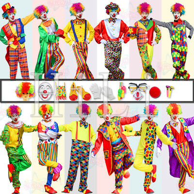 Adult Mens Deluxe Halloween Circus Clown Costume Comedy Funny Party Fancy Dress