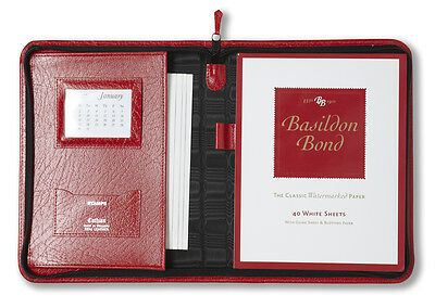 Real Leather A5 Size Writing case, Red Montana Grained Leather