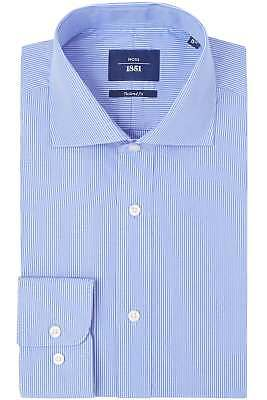 Moss 1851 Mens Sky Blue Formal Shirt Tailored Fit Stripes Egyptian Cotton