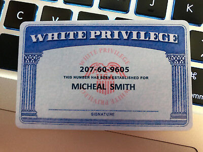 """Official White Privilege ID Card - """" WITH YOUR NAME """" - HARD PLASTIC PVC CARD"""
