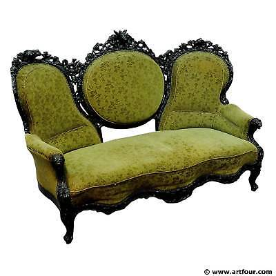 cabin decor three-seater settee with fine carvings
