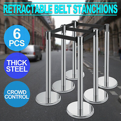 6X Retractable Belt Stanchion Crowd Control 3 Sets Stable Protect WISE CHOICE