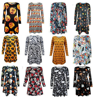 Womens Halloween Party Costume Prints Swing Skater Ladies Dress Size 6-14