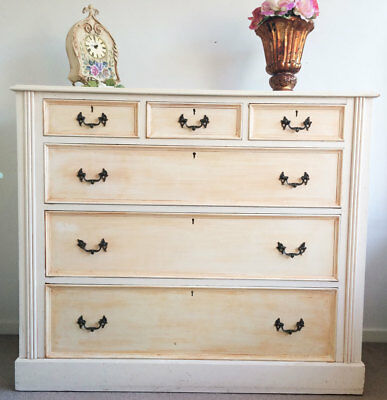 Antique - French Provincial Chest of drawers - Dovetail Joints - Glass Top