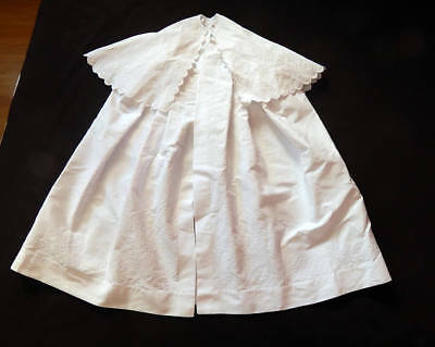 Exceptional Hand Embroidered French Christening Cape in Fine Cotton Pique c.1890