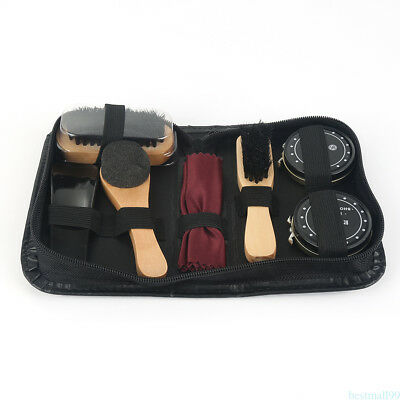 Shoe Shine Care Kit Black & Transparent Polish Brush Set for Boots Shoes Care AU