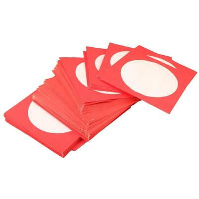 100pcs CD DVD Disk Red Plastic Sleeves with Flap & Clear Window Envelopes