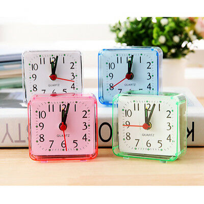 Square Small Bed Compact Travel Quartz Beep Alarm Clock Cute Portable Hot UK