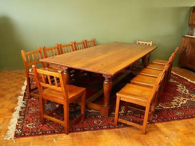 Substantial Vintage Solid Oak Refectory/farmhouse/dining Table 12-14 Seater