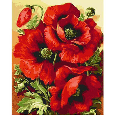 Home Decor Canvas Paint By Number Kit Oil Painting DIY Beautiful Flower No Frame