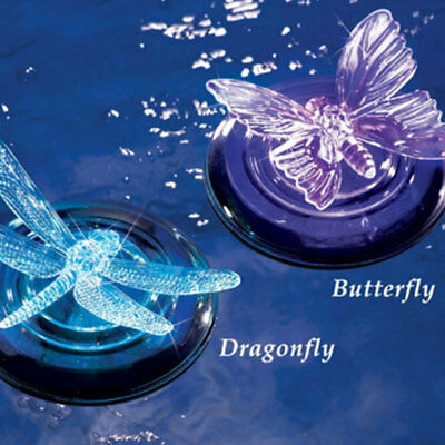 Floating Solar Power LED Pond Lamp Dragonfly Butterfly Pattern Decoration