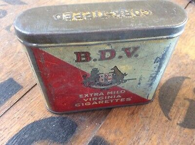 Unusual Old Collectable Smoking Pipe Tobacco Tin B.D.V Melbourne Australia