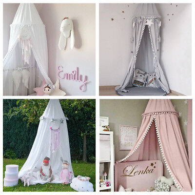 Kids Bedding Round Dome Canopy Play Tent Cotton Mosquito Net Curtain Room Decor