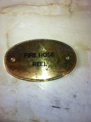 Vintage Brass Sign Fire Hose Reel Cast Old Architectural Reclaim Pub Hotel 2