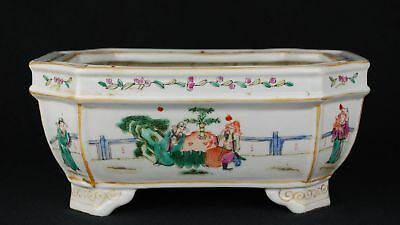 China Famille Rose enamels flower planter-2 human character Qing mark cir