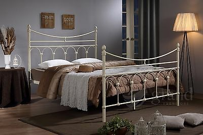 Atlanta Metal Bed Frame Cream Double Victorian Style King Size Beds