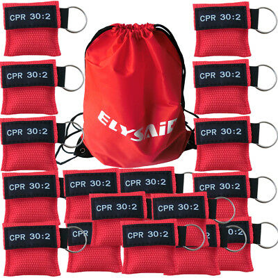 300X Transparent One-way Valve Disposable Respirater CPR Mask Red Keychain Pouch