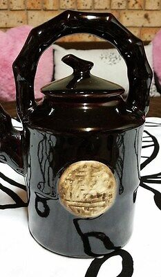 Stunning Shiny Elegant Black/brown Glazed Decorative Teapot With Asian Symbol