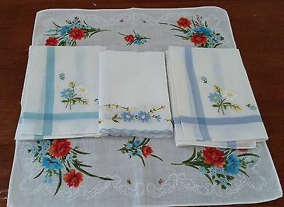 Vintage Retro 4 X Asstd Ladies FLORAL Embroidered Cotton Hankies Handkerchiefs