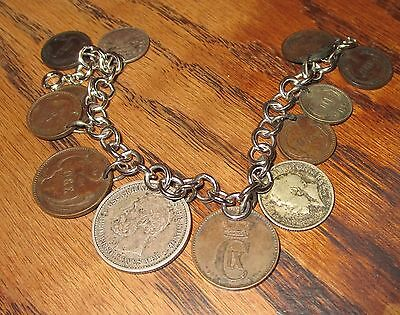 Vintage coin bracelet necklace sterling silver chains Norwegian English