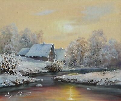 "Original Oil Painting By J. LITVINAS ""WINTER"" 12X10 INCH"