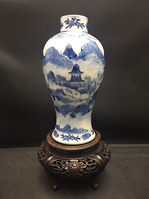 Antique Chinese Blue And White Vase Qing Dynasty