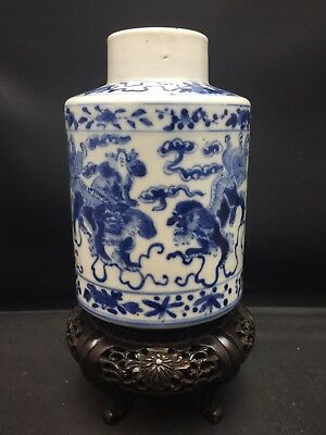 Antique Chinese Blue And White Tea Caddy Qing Dynasty