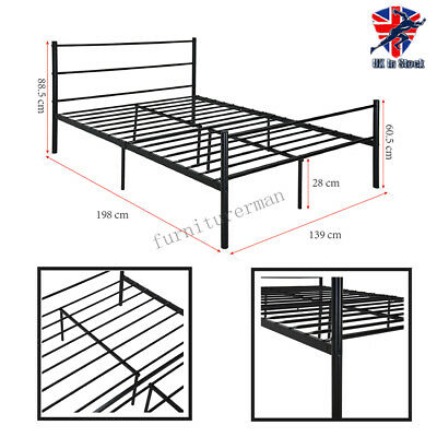 4ft6 Double Black Metal Bed Frame Bedstead Stylish Sturdy for Adult Children UK